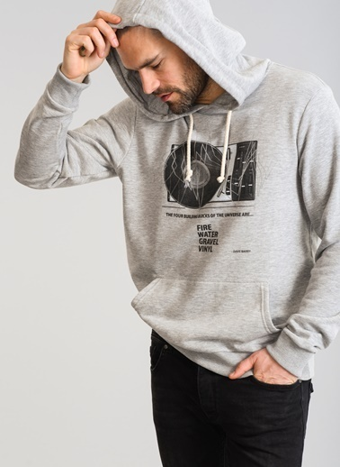 People By Fabrika Kapüşonlu Sweatshirt Gri